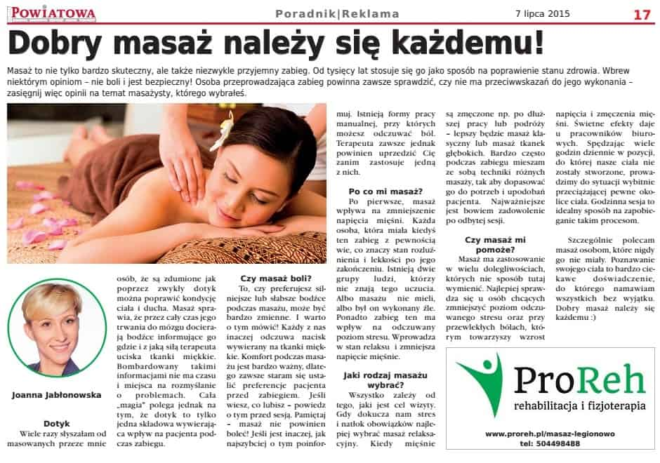 masaż Joanna Jablonowska Gazeta Powiatowa
